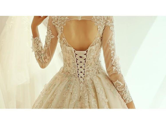Rosy Brown Luxury Wedding Dress Long Sleeve Lace Appliques Princess Style Bridal Gown