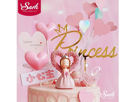 Thistle Pink Bow Heart Princess Decoration Crown Happy Birthday Cake Topper