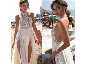 White Smoke Boho Style Backless and Sleeveless Wedding Gown with Slits Custom Halter Neckline Lace