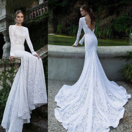 Dim Gray Backless Lace Wedding Dress Gown Formal White Floor Length Sweeping Train
