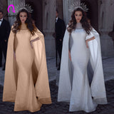 Sparkly Sequin Mermaid Evening Party Dress with Long Train Cape Lace Appliques Beaded Sheer Luxury White Banquet Gowns
