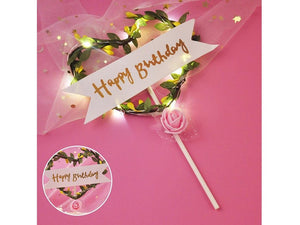 Pale Violet Red Flower LED Cake Topper Happy Birthday Party Decoration