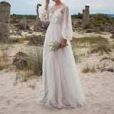 Gray Elegant Puff Sleeve O Neck Dress Embroidered Solid Wedding Maxi Dress Vestidos