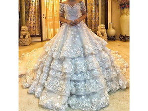 Gray Luxury Beaded Lace Wedding Dress Off The Shoulder 3D Applique Bridal Gown Cathedral Train Tiered
