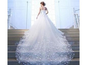 Light Steel Blue Luxury Cathedral Train with Floral Applique Bridal Gown Dress