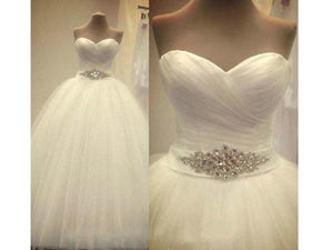 Gray Simple Strapless Tulle Wedding Dress Crystal Sash Custom Made Bridal Gown