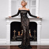 Black Long Trumpet Mermaid Wedding Gown Dress Sequins Slimming Dance Wedding Prom Party Night Maxi Bodycon Mesh Dress