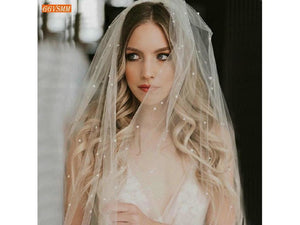 Rosy Brown Illusion 2 Layer White Veil with Comb Pearls Soft Tulle Ivory Bridal Veil