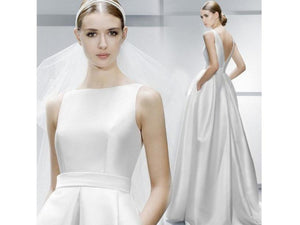 White Smoke Elegant Satin Full Length Wedding Dress Backless Buttons Custom Made Train Bridal Gown Sleeveless Long