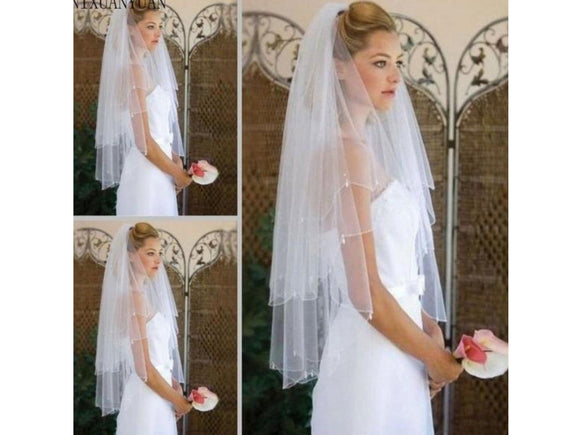 White Smoke Simple 2 Layer Short Tulle White or Ivory Bridal Veil with Bridal Comb