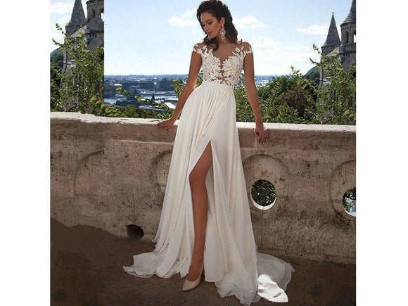 Dark Olive Green Vintage Style Chiffon Lace Wedding Gown White Sheer Side Split Bridal Gown Dress