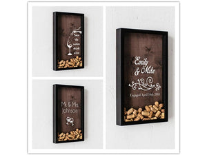 Black customize wine cork Wedding Decoration engagement Shadow Box Rustic Sweet bridal shower Guest Drop box frame alternative wooden