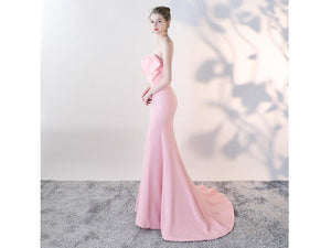 Misty Rose Strapless Wedding Dress with Train More Colors Mermaid Dress Stretchy Fabric Long Evening Bridal Gown vestido de noiva