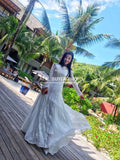 Lace Boho Wedding Dress Bridal Gown Long Sleeves