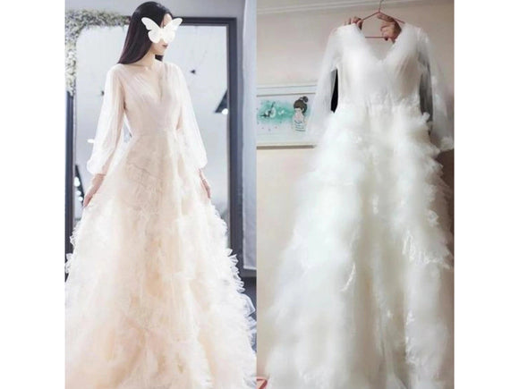 Antique White White Lace Dress V-neck Backless Boho Wedding Gown Bridal Dress Long Sleeves