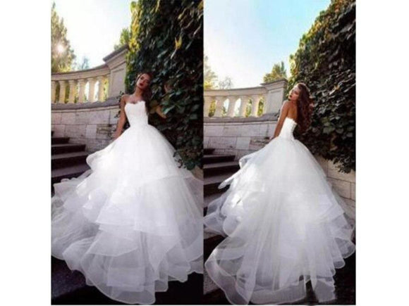 Gray Layered Bridal Dress Simple Ruffles Tulle Long Formal Wedding Gown Lace up Back