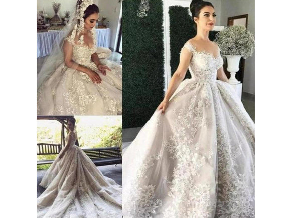 Gray Bridal Gown Lace Appliques Wedding Dress A Line Pleats and Train