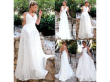 White Smoke White Long Bridal Party Dress Wedding Beading Floor Length Lace Formal Wedding Bridesmaid