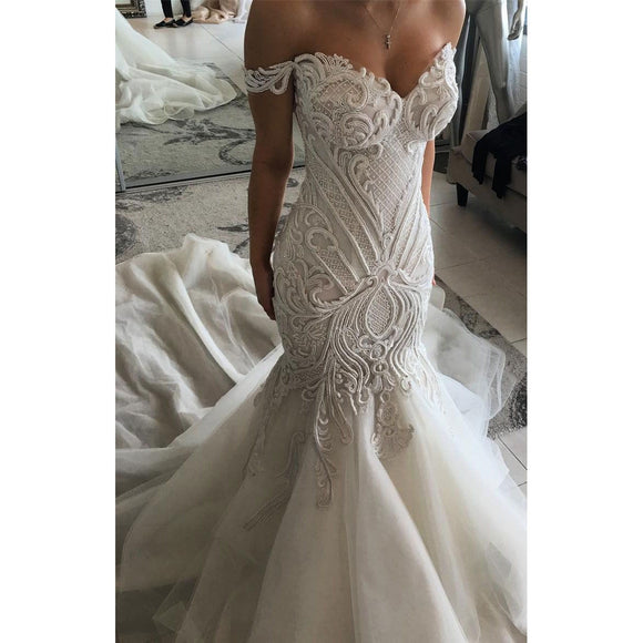 Dim Gray Bridal Dress Mermaid Sleeveless Patterned Wedding Gown Applique Customized Bridal Dress Off Shoulder