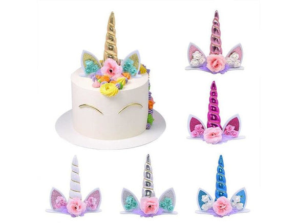 Antique White Unicorn Cake Topper Birthday Decor for Cakes Kids Favors Baby Shower