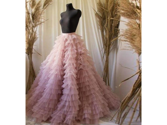 Dim Gray Tiered Ruched Long Tulle Skirt Bridal Gown Sweet Pink High Waist Many Colors