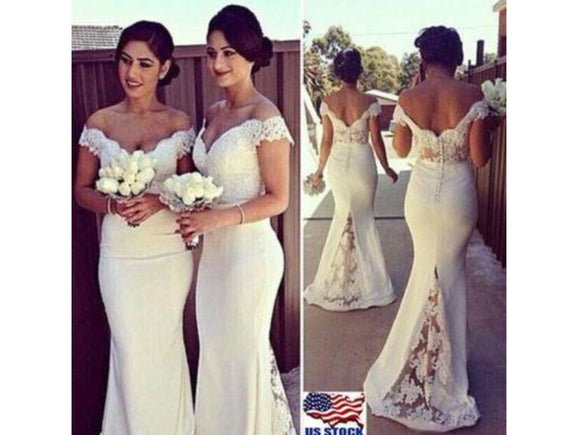 White Smoke Formal Wedding Gown White Bridal Dress with Lace Sleeveless Off Shoulder V-Neck Floor-Length Bridal