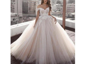 Dark Gray Wedding Gowns Lace Appliqued Beads robe de mariee Bridal Dress Off Shoulder Train Abiye Romantic Tulle Arabic Wedding Gowns