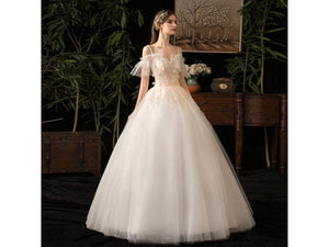 Gray Designer Look Short Fluid Sleeves with Lace Up Back Floor Length Bridal Gown White Wedding Dress Luxury Custom Lace
