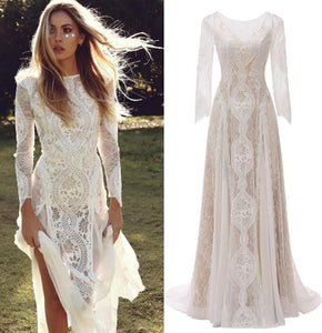 Gray Floor Length Side Split Boho Bohemian Wedding Dress Bridal Long Sleeves Vintage Style Lace