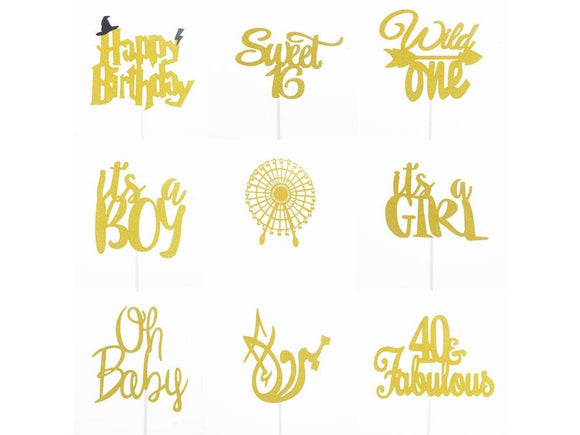 Cake Topper 40 Fabulous Oh Baby Wild One Boy Girl Cupcake Toppers Kids Happy Birthday