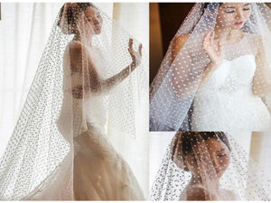 Beige 9 ft Length Dots Tulle White Ivory Bridal Veil Elegant Without Comb