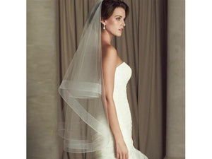 Dim Gray One layer white fingertip Bridal veil without comb