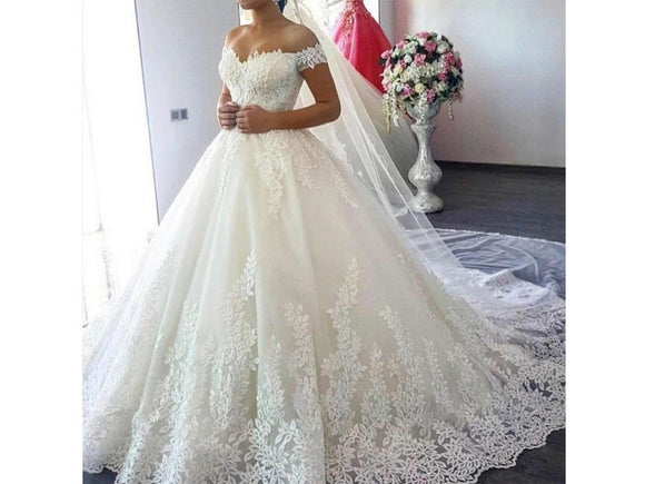 Gray White Off the Shoulder Vestido De Noiva Wedding Dress Train Custom-made Gown Plus Size Bridal Tulle