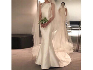 Tan New Arrival Satin Wedding Dress O-neckline Bridal Gown Sweeping Train Mermaid ing Guest