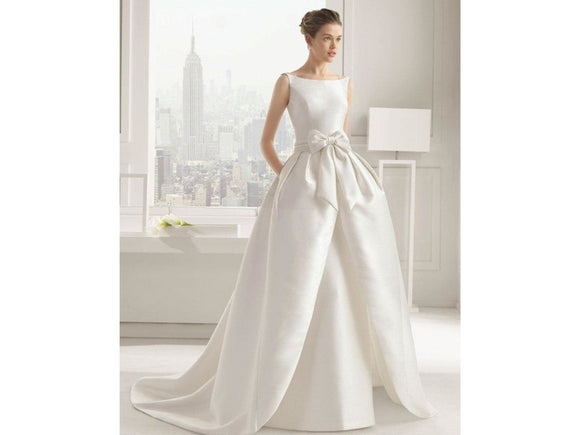 Gray Elegant Ivory Satin Wedding Dress Bow Floor-Length Court Train O-Neck Backless Bridal Gown Party Dress