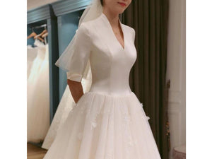 Gray Elegant High Neck Half Sleeve Satin Bodice Bridal Gown Wedding Dress