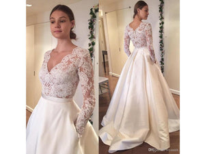 Tan Elegant Satin and Lace Long Wedding Dress with Sash V-neck Buttons Custom Made Train Bridal Gown