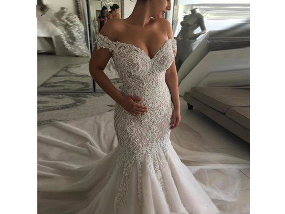 Dim Gray Long Mermaid Bridal Gown Wedding Dress Beading Appliques Form Fitting Luxury Bridal Gown
