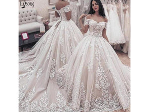 Gray Formal Wedding Dress Off Shoulder White Applique Bridal Gown Lace Up Custom Other Colors and Sizes please ask