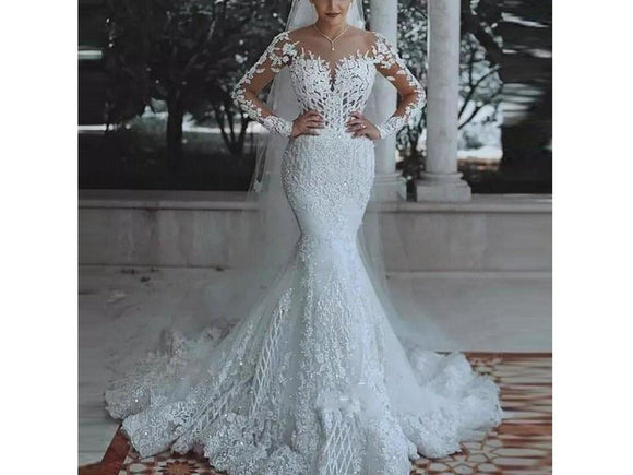 Slate Gray Parisian Style Bridal Gown Mermaid Bridal Dress Long Sleeves Formal Wedding Gown Appliques