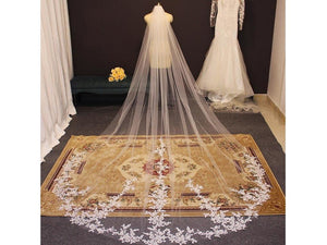 Dark Khaki Lace Tulle Veil 3 1/4 yards Cathedral Bridal Veil with Quality White Ivory
