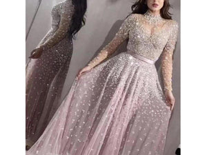 Dim Gray Long Sleeve Bridal Wedding Dress Sequins Elegant Formal Gown
