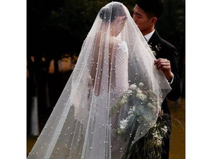 Black Bridal Veil Pearls Facial Covering Cathedral Train 3 Meters/9 ft. White Ivory Veil Pearls Bridal Accessories
