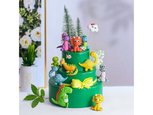 Medium Sea Green Dinosaur Cake Topper Dinosaur Birthday Party Decorations Kids Favors Cake Flag Baby Shower Supplies Jurassic World Party Decor