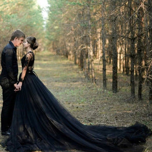 Dramatic Black Tulle Wedding Skirt with Long Court Train High Slit A Line Bridal Black