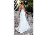 Lavender Empire Waist, V Neck Backless Bridal Gown Lace on Bodice Formal Wedding Dress Bohemian