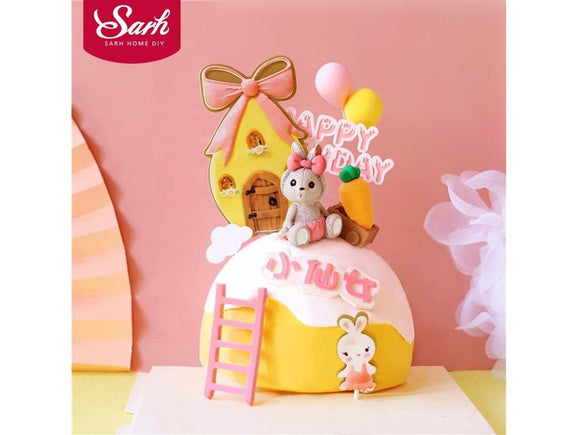Sandy Brown Bow House Toy trolley Rabbit Cake Toppers Happy Birthday Party Decorations for Kid Baby Shower Baking Love Gifts