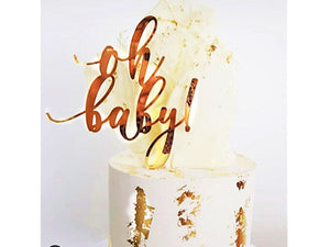 "Bisque Gold Pink Happy Birthday Cake Topper Acrylic ""Oh baby"" theme Wedding Bride Party Baby shower"
