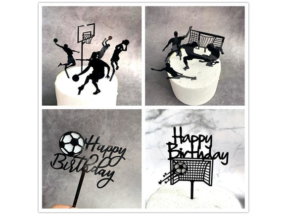 Dark Gray Acrylic New Football Cake Topper Creative basketball Happy Birthday Cake Topper Flags For Boy Birthday Sports Party DIY Cake Decoration