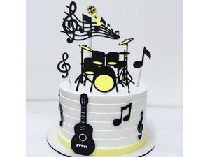 Khaki 8 Pcs/set Musical Notes Cake Topper Musical Instruments Festival Cupcake Toppers for Birthday Party Cake Decorations